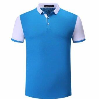 Harga OEM Man's POLO shirts short sleeve T-shirt Sky blue&white Color blocking casual Golf Tennis Shirt - intl
