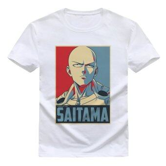 Harga Cartoon One Punch Man Printed Cotton T-Shirts OPM07(White) - intl