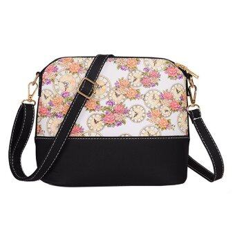 Harga La Vie Shell Bag Zipper Ladies Shouder Bag PU Panelled Messenger Bags(White Rose )