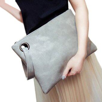 Harga JinGle Women Envelope Bag Synthetic Leather Clutch (Gray) - intl