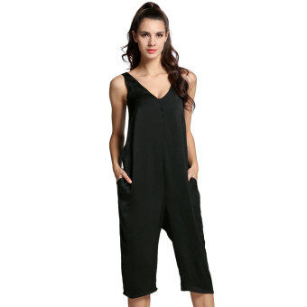 Harga Cyber Women Sleeveless Backless Casual Solid Slim Calf Jumpsuit (Black)