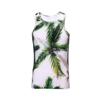Harga Men Coconut Tree Tank Top 3D Round Neck T-shirt Casual Vest Sleeveless Tee Shirt - intl