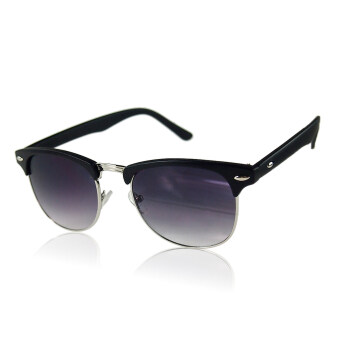 Harga Half Frame Semi-Rimless Uv400 Oversized Sunglasses Matte Black - intl