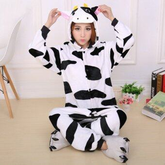 Harga JinGle Cow Adult Unisex Pajamas Cosplay Costume Onesie Sleepwear S-XL (Black+White) - Intl