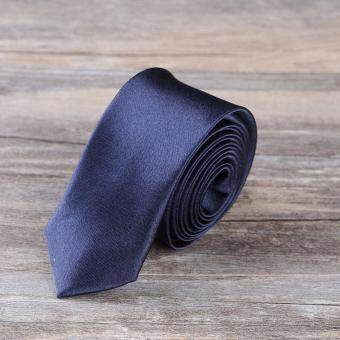 Harga เนคไท Slim Necktie Tie Wedding Classic Jacquard Woven Solid Color Plain Skinny Silk - Deep Blue