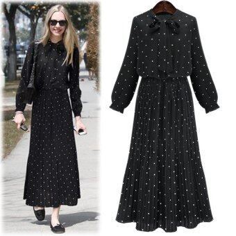 Harga Sexy Women Long Bohemia Bouffancy Dot Cocktail Party Ball Prom Gown Dress M Black - intl