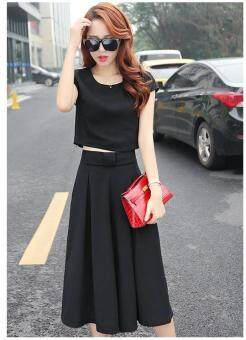 Harga TB summer clothes dress Korean fashion set wide leg pants female tide Black - intl