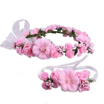 Harga Hanyu Bohemian Bride Wedding Party Flower Hair Band Wreath Head Flowers Wrist Flower Corsage Flowergirl Hair Accessories Pink