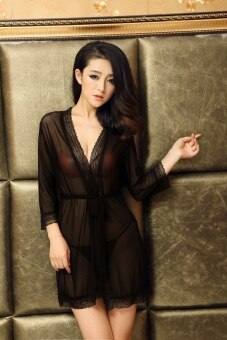 Harga Sexy Nightgowns And Robe For Women Nightie with G-String Robe Transparent Bathrobe (Black) - intl