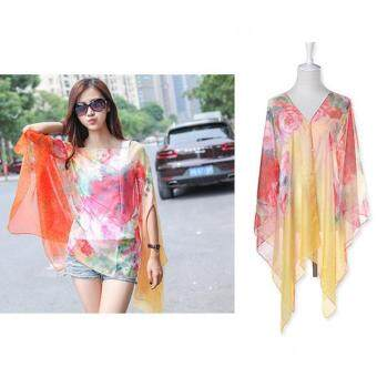 Harga LALANG Chiffon Shawls Scarf Pearl Button Floral Print Sunscreen Casaul Scarf (Multicolor) - intl