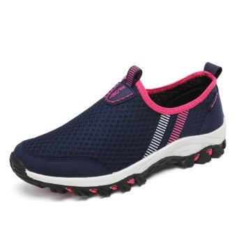 Harga TF Men's / Women's Net Outdoor Shoes, Breathable Beach Shoes Running Shoes, Casual Sneaker (Dark Blue Rose) - intl