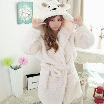 Harga Couples Flannel Sleep Robes Winter Cartoon Sleep wear Bathrobe Sleepwear Dressing Sleeping Gowns - intl