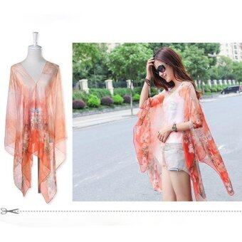 Harga Hang-Qiao Floral Print Chiffon Shawls Scarf Pearl Button Sunscreen Clothing Scarf (Orange) - intl