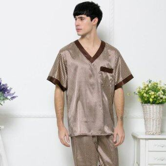 Harga Men's Pajamas Bathrobe Short Sleeved Pants Suit Home Furnishing Leisure Suit Two Pieces - intl