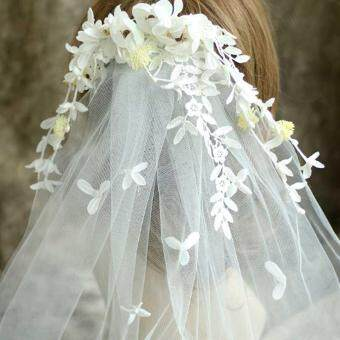 Harga New Arrival leaves and Flower Bridal Veils Amazing Lovely Wedding Accessories Beach Bohemian Wedding Goods - intl
