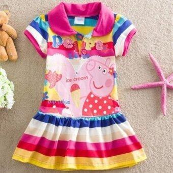Harga Kids Girls Peppa Pig Striped Rainbow T-Shirt Skirt Child Short Sleeve Dress - intl