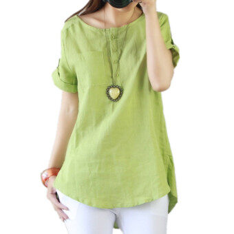 Harga Autumn New Cotton Round Collar Short Sleeve Shirts T-shirt Tops Blouses Green - intl