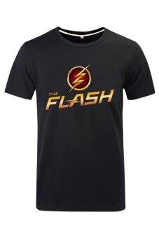 Harga Cosplay Men's DC The Flash Flag and Logo T-shirt (Black)