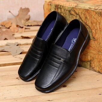 Harga New Men's Casual Shoes Fashionable Leather Shoes Men's Work Shoes Chefs Work Shoes (Black) - intl