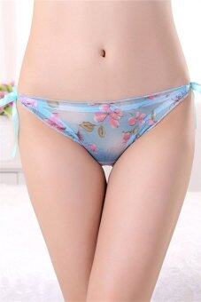 Harga Women Sexy Transparent Flower Mesh Tie Side Strips Panties UWJP853-3 (blue) - Intl