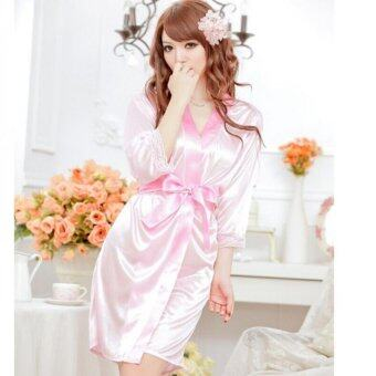 Harga YBC Women Sexy Pajamas With T-back Satin Open Front Belted Bathrobes Nightdress Pink