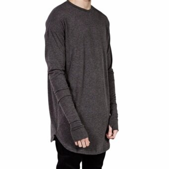 Harga Fancyqube hot selling Thumb Hole Cuffs Long Sleeve Tyga Swag Style Mens Side Split Hip Hop Top Dark Green - intl