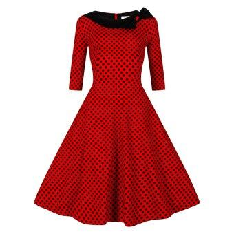 Harga ZAFUL Woman Dress One Line Collar Big Hem With Bowknot (Red) --TC - intl