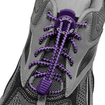 Harga เชือกรองเท้า เชือกผูกรองเท้า ไม่ต้องผูก รองเท้า Lock Laces No-Tie Elastic Shoe Laces Lock And Clip For Custom Fit - Purple