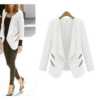 Harga White Women No Button Zip Detail Casual Slim Suit Jacket Blazer Suit Coat M - intl
