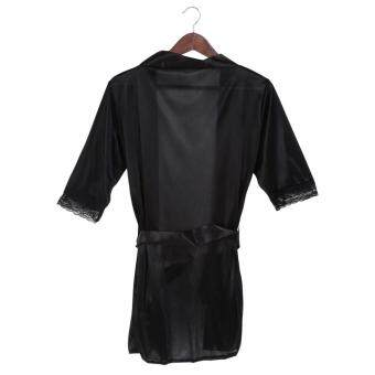 Harga Women Sleepwear Lingerie Robe Cardigan Bathrobes Black - intl