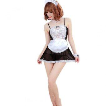 Harga Sheer Lace Cosplay French Maid Lingerie