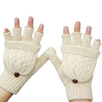 Harga The Best Quality Fashion Gloves Women Mitten Warmer Women Winter Glove Semi-finger Gloves - intl