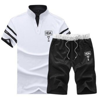 Harga Casual Polo-shirt Set Youth Short Sleeve Stand Collar Men Shorts Suit(White) - intl