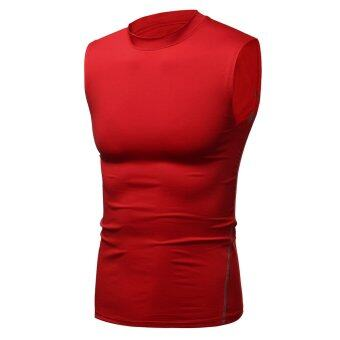 Harga Mens Compression Under Base Layer Tight Vest T-Shirt Athletic Tops Gym Gear Wear Red - intl