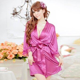 Harga MeiNiang Brand lingerie sexy cute lace cardigan suit strap gown bathrobe silk factory 7012 - intl