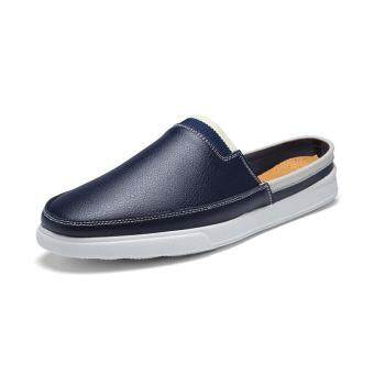 Harga Men House Slippers Summer PU Leather Shoes Blue