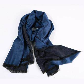 Harga Men's Cashmere Scarf 2017 Fashionable British Columbia Winter Scarves Stitching Winter Warm Scarves Shawl (Blue) - intl