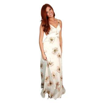Harga Zaful Long Dress V-neck Backless Printed Sleeveless - Intl