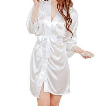 Harga Women Silk Satin Lace Bathrobe Nightwear Kimono Lingerie Nightdress Nightgown Sleepwear Underwear Pajamas - intl