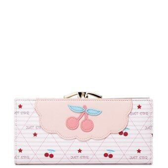 (IMPORTED) JUST STAR High Quality Faux Leather Purse MoneyCheckbook Card Holder Wallet Clutch Bag Zip Girl Cute (Pink)