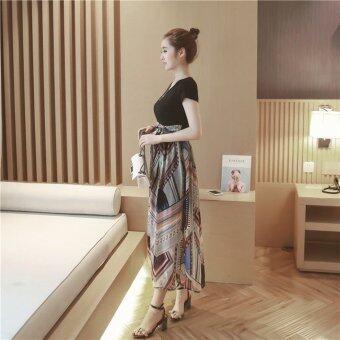 In Style เดรสผ้ายืดกระโปรงเป็นผ้าชีฟองพิมพ์ลาย สีดำ - 2