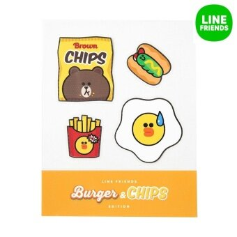 IRON-ON STICKER_BROWNCHIPS_BURGER&CHIPS