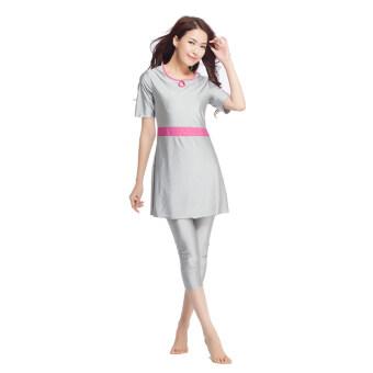 Islamic Adult Beachwear Swimsuit For Women 3/4 Pants Sports Swimwear Grey
