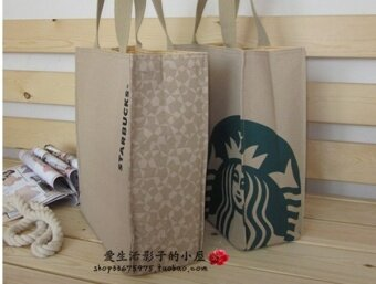 Japan's Starbucks BAG canvas tote bag bag bag bag box singles Lunch Bags - male No no white bag zipper accessories - intl