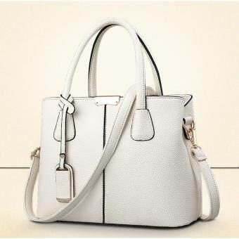 โปรโมชั่นพิเศษ Japanese Bag กระเป๋าถือผู้หญิงทรงยุโรปและอเมริกา หนังแท้ (สีขาวขุ่น)