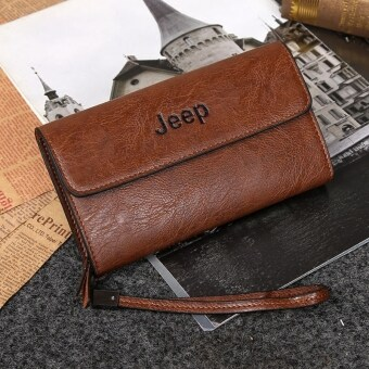 Jeep Cowhide Leather Wallet Leisure Handbag Men Clutch Hand BagLarge Purse Card Holders (Khaki)