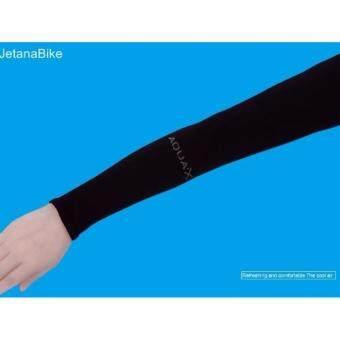 Jetana Aqua X ปลอกแขนกันแดด สำหรับกิจกรรมกลางแจ้ง กอล์ฟ จักรยานวิ่ง มอเตอร์ไซค์ ขับรถ ตกปลา ใส่แล้วเย็น Cool Arm sleeves UVProtection (สีดำ) free size ใช้ได้ทั้ง ชายและหญิง (image 1)