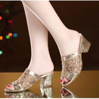 รองเท้าแตะ jetcorn สำหรับสุภาพสตรีรองเท้าส้นสูงรองเท้าแตะ Peep Toe รองเท้าขนาด 35-41 ทอง