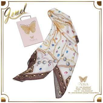 ผ้าพันคอ รุ่น Jewel Scarfเนื้อผ้า Silk SatinPremium Color : White