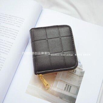 ออลจัง Jianyue สีทึบหลายบิตแพคเกจบัตรกระเป๋าสตางค์สั้น (สีดำ)